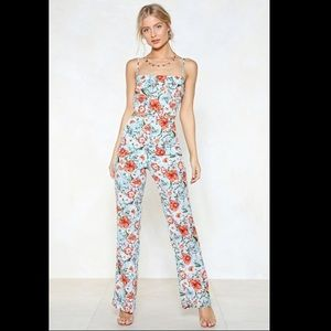 Nasty Gal floral jumpsuit with cutouts